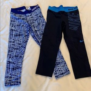 Nike Pro 2 pair of leggings, small